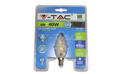 LED retro žiarovka sviečka E14 4W teplá biela, blister