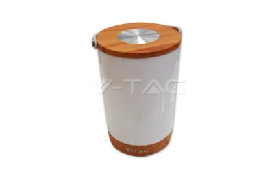Nabíjateľná LED stolná lampa 5 W so zabudovanou Power bankou stmievateľná, imitácia dreva