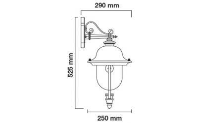 Retro nástenná lampa na E27 žiarovku čierna s medenou strieškou