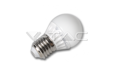 LED žiarovka E27 guľa G45 4 W teplá biela plastová