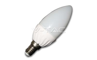 LED žiarovka E14 sviečka 4 W denná biela plastová
