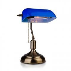 Stolná lampička E27 retro BANKERS modrá