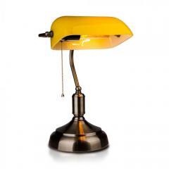Stolná lampička E27 retro BANKERS žltá