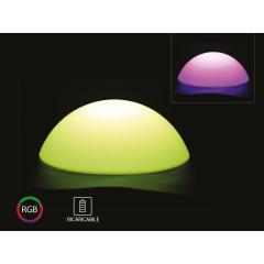 Nabíjateľné záhradné dekoratívne svietidlo pologuľa RGB priemer 50 cm IP54