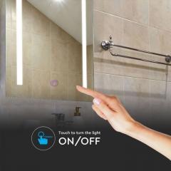 LED kúpeľňové zrkadlo 27 W s meniteľnou farbou svetla obdĺžnik 70x50 cm s protizahmlievacím systémom dotykové ovládanie