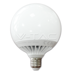 LED žiarovka E27 guľa G120 13 W studená biela plastová