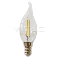 LED žiarovka filament E14 sviečka so špičkou 2W teplá biela