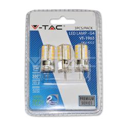 LED bodová žiarovka G4 3W, teplá biela, silikón, blister, 3-pack