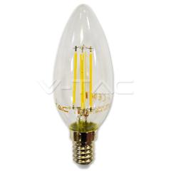 LED filament žiarovka sviečka E14 4W teplá biela, stmievateľná