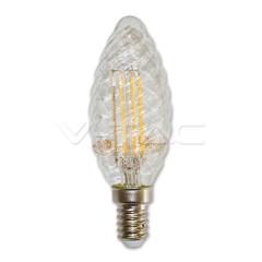 LED filament žiarovka sviečka E14 4W TWIST dizajn stmievateľná