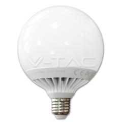 LED žiarovka E27 guľatá 120 mm 13W teplá biela plastová