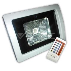 LED reflektor PREMIUM 10 W s diaľkovým ovládaním, RGB, šedý