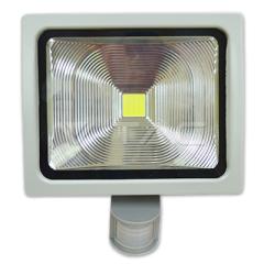 LED reflektor PREMIUM so senzorom,50 W, studená biela, šedé telo